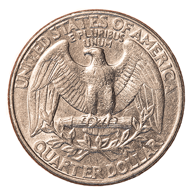 Reverse side of a coin.